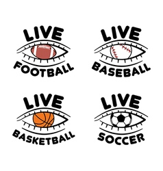 Sport set icons for live football basketball vector