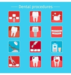 Stomatology and dental procedures flat icons vector