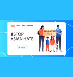 Stop asian hate family in masks holding banner vector