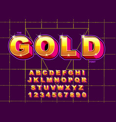stylized vintage font and alphabet 80 s vector image