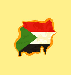 Sudan - map colored with sudanese flag vector