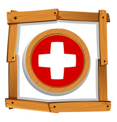 Swiss flag on round button vector