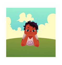 teenage black african american boy lying on grass vector image vector image