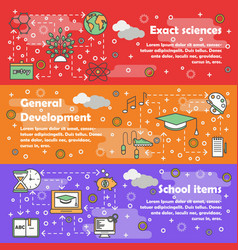 thin line school web banner template set vector image