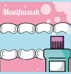 Tooth and gum inside mouth mouthwash vector