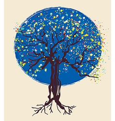 Tree decorative design at night vector image