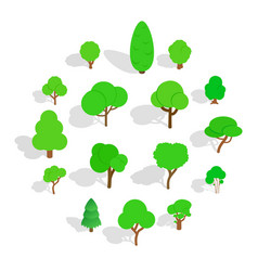 Tree icons set isometric 3d style vector