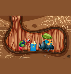 Underground scene with ant and beetle in hole vector