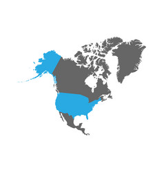 Usa is highlighted in blue on the north america vector