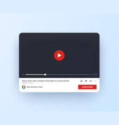 video player mock up for web site and mobile app vector image