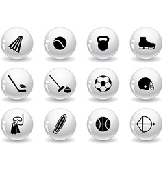 Web buttons sport equipment icons vector image