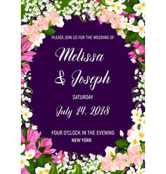Wedding invitation with frame of jasmine flower vector