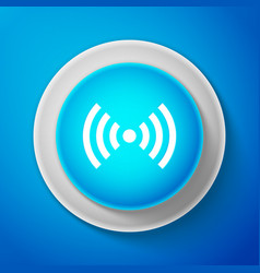 White wi-fi network symbol icon on blue background vector