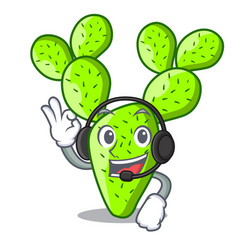 With headphone cartoon the prickly pear opuntia vector