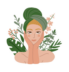 Woman with a towel on her head organtic cosmetic vector