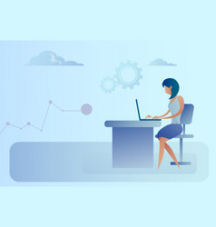 abstract business woman sitting at office desk vector image