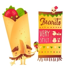 Burrito character with thick eyebrows and vector image vector image