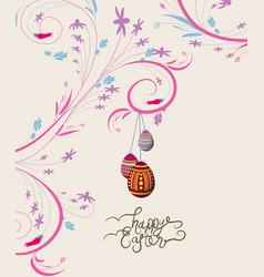 Easter eggs doodle florals vintage background vector