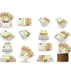 full set of fifty euros banknotes vector image