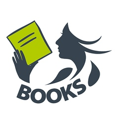 logo girl reading a book vector image