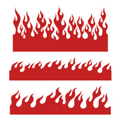 red flame elements for the endless border vector image vector image