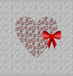 red heart with a red bow vector image vector image