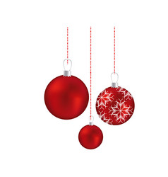 set red garlands christmas holding with snowflakes vector image