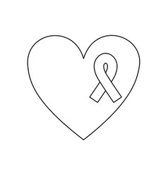 symbol heart with breast cancer ribbon icon vector image vector image