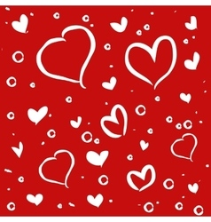 Hand drawn white hearts on red background vector image