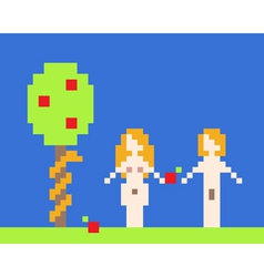 illustration of adam and eve garden of eden near a vector image