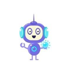 Robot holding glass sphere vector