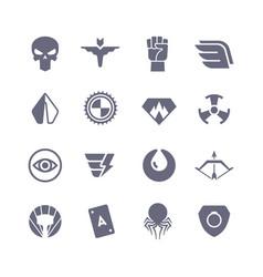 superheroes icons super power superhero vector image vector image
