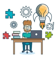 Education online man desk laptop vector