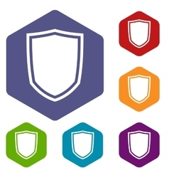 Military shield icons set vector