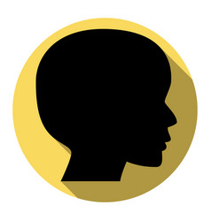 people head sign flat black icon with vector image