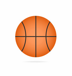 basketball ball icon with shadow isolated on vector image