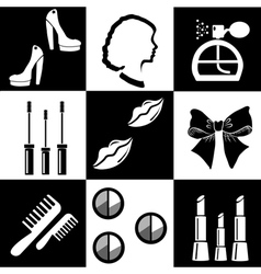 Black and white beauty and makeup flat icons vector image vector image