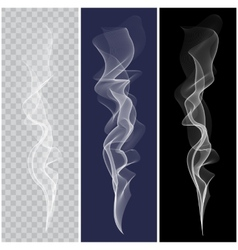 Set of realistic white smoke vector image vector image