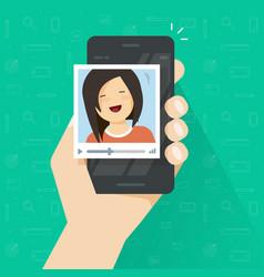 video call on smartphone flat cartoon vector image vector image