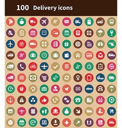 100 delivery icons vector image