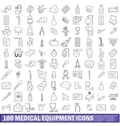 100 medical equipment icons set outline style vector