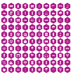 100 windmills icons hexagon violet vector