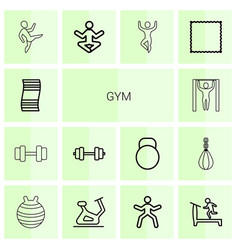 14 gym icons vector