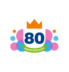 80th anniversary colored logo design happy vector