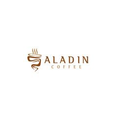 Aladin coffee smoke coffee logo vector