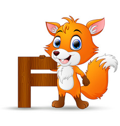 Alphabet f with fox cartoon vector