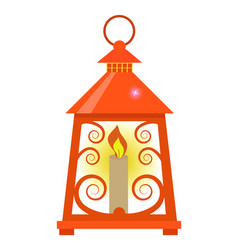 arabian lantern for ramadan icon flat style vector image