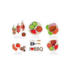 barbecue icons set grilled food menu design vector image