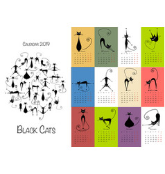 Black cats design calendar 2019 vector