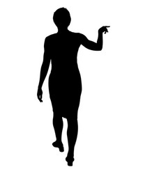 black silhouette woman standing people on white vector image